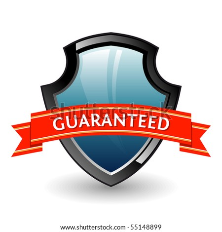 Shield. Color 3D vector illustration named guaranteed. - stock vector