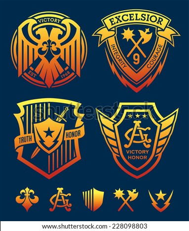 Shield crest emblem set - stock vector