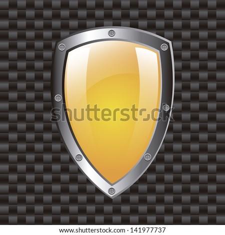 shield design over grid background vector illustration - stock vector