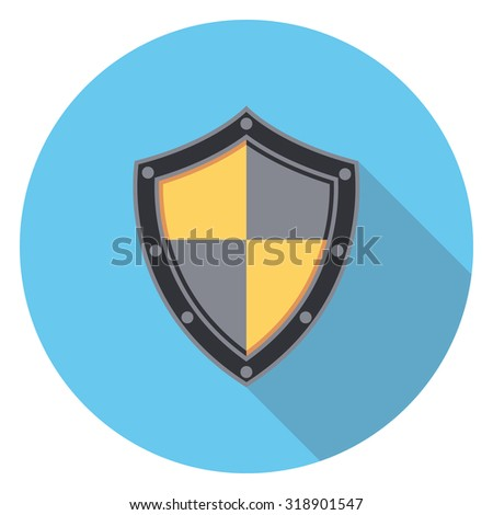 shield flat icon in circle - stock vector