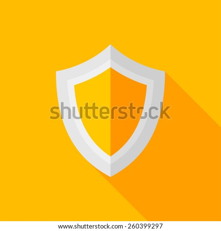 shield flat icon with long shadow on color background , vector illustration , eps10 - stock vector