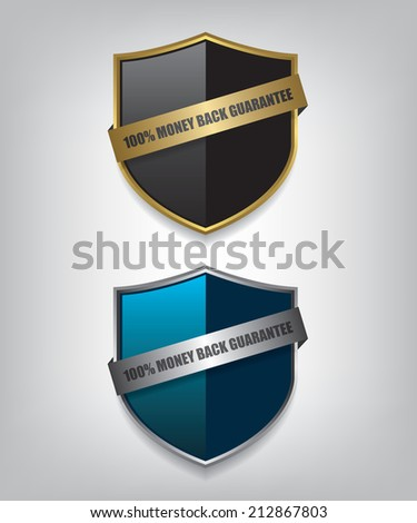 Shield guarantee badge illustration - stock vector