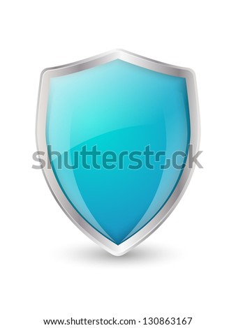 Shield icon on white background - stock vector