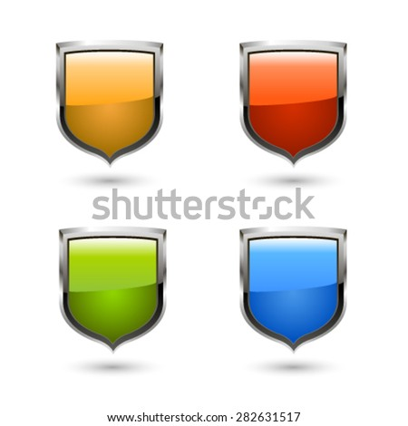 Shield icon set. Vector - stock vector