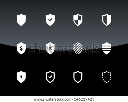 Shield icons on black background. Vector illustration. - stock vector