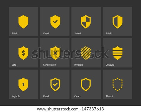 Shield icons on gray background. Vector illustration. - stock vector