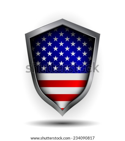 Shield made with elements of the USA flag. Vector illustration. - stock vector