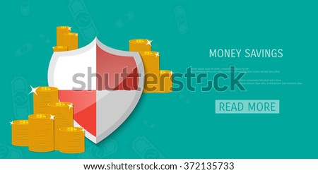 Shield protection illustration - Flat design - Icon background - stock vector