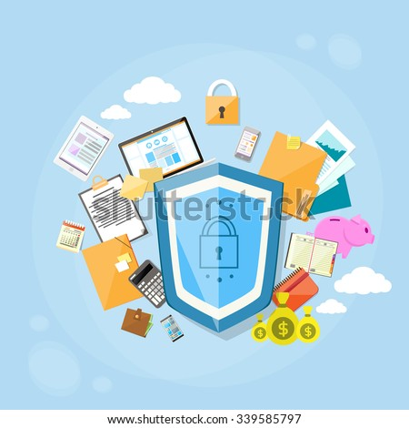 Shield Safe Data Protection Concept Privacy Computer Internet Information Security Flat Banner Logo Vector Illustration - stock vector