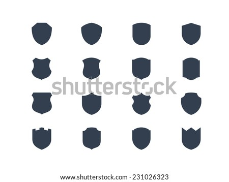 Shield shape icons - stock vector
