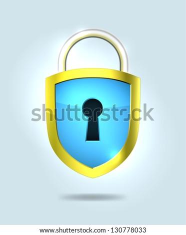 Shield shaped lock. EPS10 vector. - stock vector