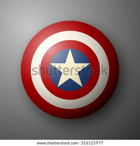 Shield with a star, superhero shield, comics shield - stock vector