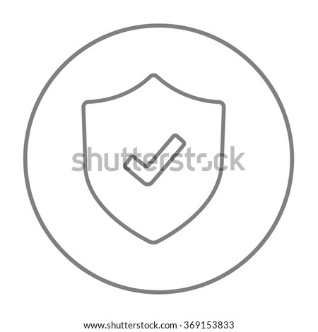 Shield with check mark line icon. - stock vector