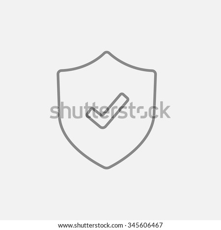 Shield with check mark line icon for web, mobile and infographics. Vector dark grey icon isolated on light grey background. - stock vector