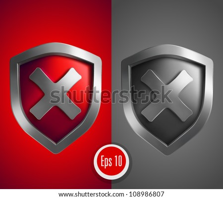 Shield with cross mark. Vector illustration - stock vector