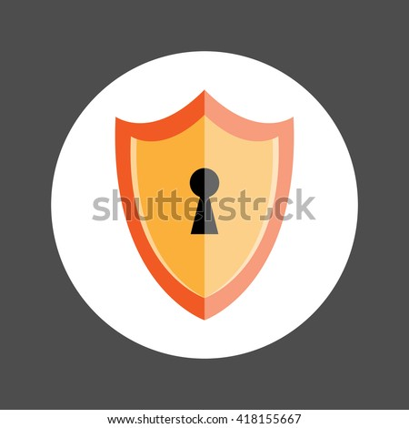 Shield with Keyhole icon, Security protection shield symbol, Flat design vector illustration - stock vector