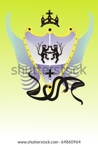 Shield with lions, a crown, wings and serpents - stock vector