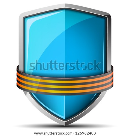 Shield with St. George ribbon - stock vector
