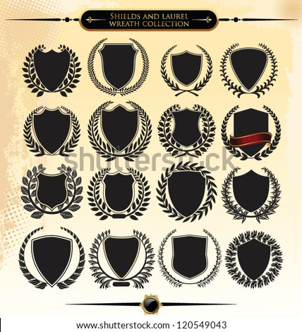 Shields and laurel wreath collection - stock vector