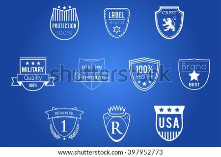 Shields Badges White Vector Logos - stock vector