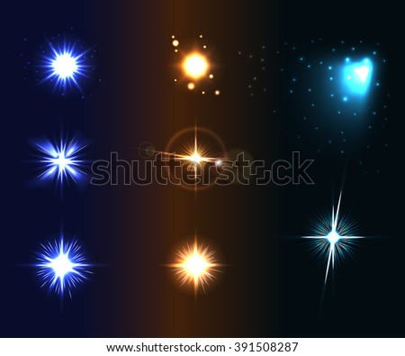 Shine disco color stars. Flare and sparkles colorful icons set. Effect twinkle, glare, magic glow, graphic light. Burst and blur design elements on dark background. Varied template Vector illustration - stock vector