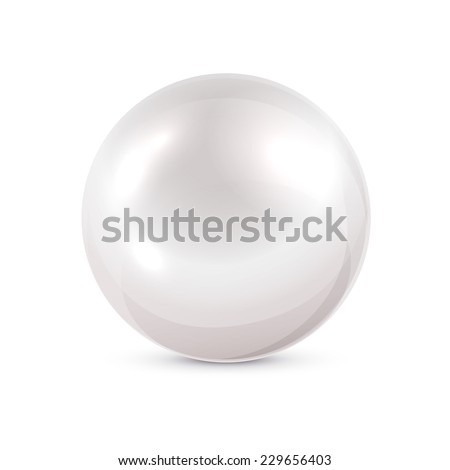 Shine pearl isolated on white background, illustration. - stock vector