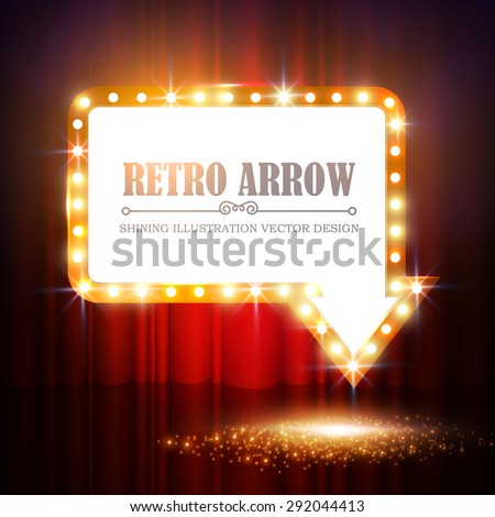 Shining arrow banner on stage curtain. Vector illustration - stock vector