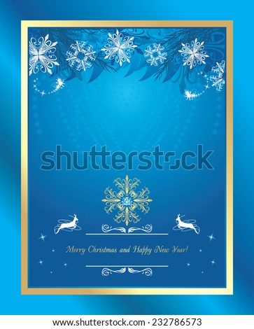 Shining blue Christmas background with tinsel and snowflakes. Vector - stock vector
