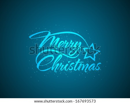 shining blue color background design with beautiful text design of Merry Christmas. vector illustration - stock vector
