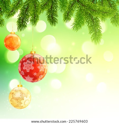 Shining Christmas and New Year background with fir branches and hanging balls - stock vector
