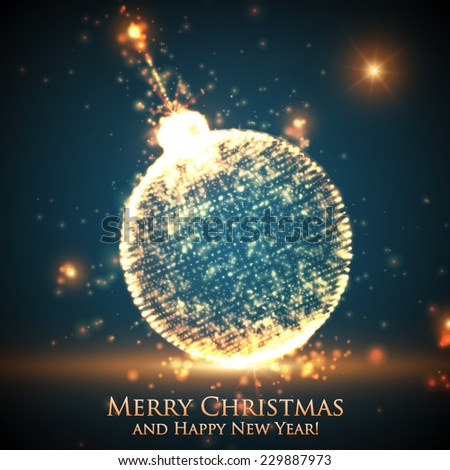 Shining Christmas ball on the blue background with glowing particles flying around. Abstract vector new year background. Elegant background for invitaions or gift cards. EPS10 - stock vector