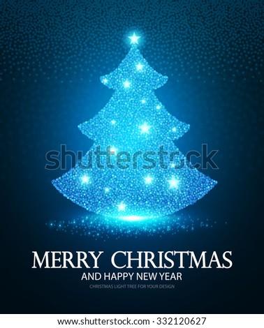 Shining Christmas Tree. Celebration Card & Season Poster. Vector illustration. - stock vector