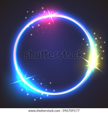 Shining circle banner - stock vector