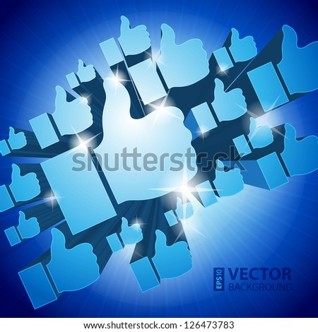 "Shining 3d ""Like"" symbols on blue background. RGB EPS 10 vector illustration - stock vector"