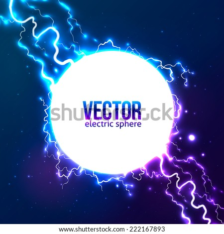 Shining electric lightning white circle vector frame - stock vector