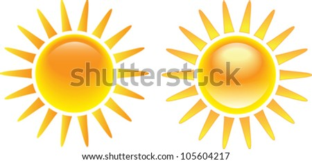 Shining glossy sun set isolated on white background. Vector illustration - stock vector