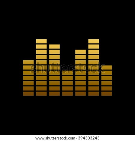 Shining gold digital equalizer. Music icon on black background.. Vector illustration. - stock vector