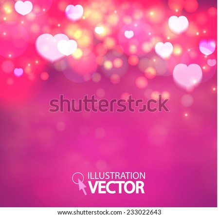 Shining heart bokeh background. Valentine background. Vector illustration - stock vector