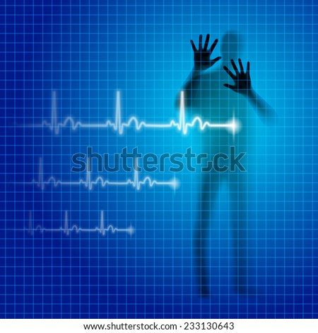 Shining medical background with human silhouette and cardiogram line - stock vector