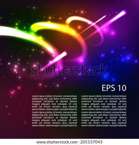 Shining neon lights cosmic vector abstract background. Vector. EPS 10. - stock vector