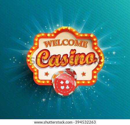 Shining retro light frame , vector illustration on a casino theme with lighting display and welcome text on blue background. Eps 10 design. - stock vector