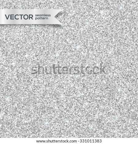 Shining silver glitter texture vector seamless pattern - stock vector