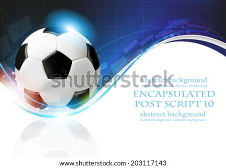 Shining soccer balls on abstract  blue background with lights and sparks.  Abstract soccer background. - stock vector