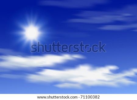 Shining sun and clouds on the blue sky - stock vector