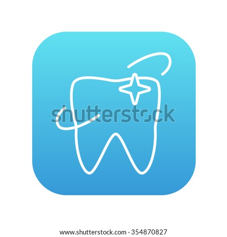 Shining tooth line icon for web, mobile and infographics. Vector white icon on the blue gradient square with rounded corners isolated on white background. - stock vector