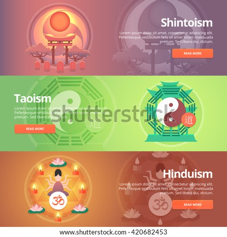 Shintoism. Japanese religion. Taoism. Hinduism. Buddhist culture. Tao principles. Religion and confessions banners set. Vector design concept. - stock vector