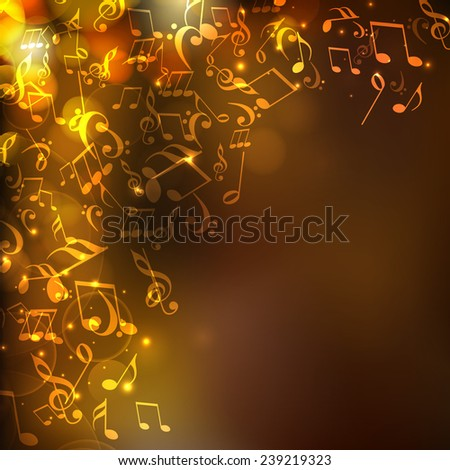 Shiny abstract musical background with flying musical notes.  - stock vector