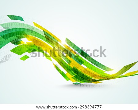 Shiny abstract waves with different web icons on sky blue background. - stock vector