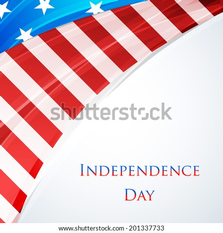 Shiny American Flag on grey background for 4th of July, American Independence Day celebrations.  - stock vector