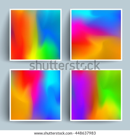 Shiny artistic backgrounds set. Cool fluid colors. Applicable for gift cards, covers, posters, banners,brochure etc. Eps10 vector template. - stock vector